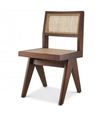 Sedia da pranzo modello Niclas by Eichholtz, realizzata in legno massello e rattan. Sedia di design contemporaneo.