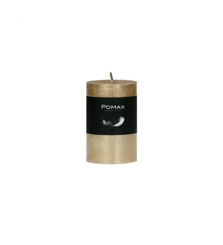CANDELA oro Ø5XH8 CM DISPONIBILE IN DIVERSI COLORI REALIZZATA IN PARAFFINA. candela pomax. candela oro Ø5XH8 CM.
