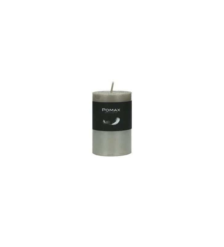 CANDELA argento Ø5XH8 CM DISPONIBILE IN DIVERSI COLORI REALIZZATA IN PARAFFINA. candela pomax. candela argento Ø5XH8 CM.