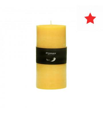 Candela giallo ø7xh14 cm disponibile in diversi colori realizzata in paraffina.  candela pomax