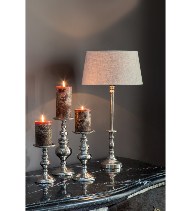 Portacandela argento con base circolare, modello Navarra light&living. Dimensioni: Ø12x27cm