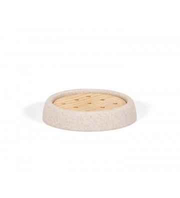 Portasapone circolare traforato in legno di frassino e parte esterna in pietra arenaria. Dimensioni: Ø10,5 x 2 cm.andreahouse