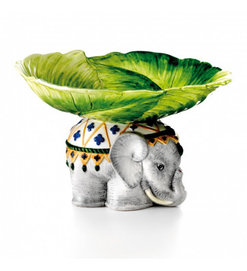VASO CERAMICA ELEPHANT LEAF.VASO MULTIUSO PIATTO PER TAVOLA ELEFANTE.LES OTTOMANS.