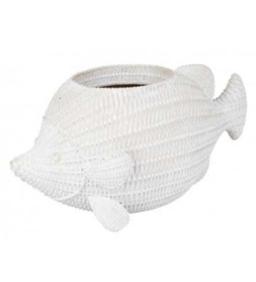 Vaso per fiori a forma di pesce bianco in poliresina - Cotè Table - Nardini Forniture