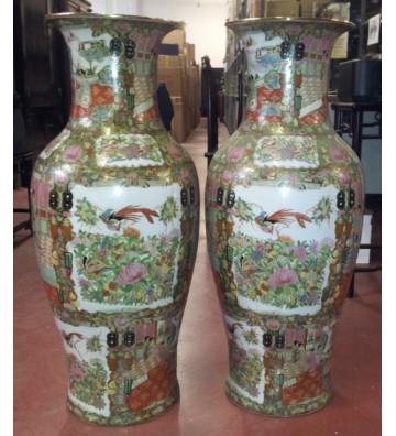 Vaso in porcellana canton rose cinese decorato a mano H92cm - nardini forniture