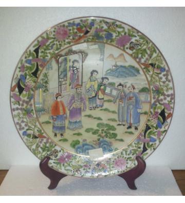 Piatto cinese in porcellana dipinto a mano 41x41xH5cm - nardini forniture