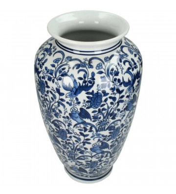 Vaso orientale in porcellana blu e bianco 36x18x18cm kersten.