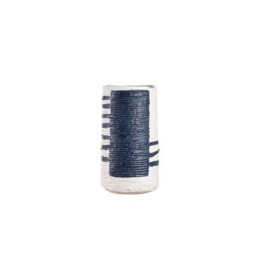 Vaso in Ceramica blu e bianco Ø14x24h, l'oca nera 1O203