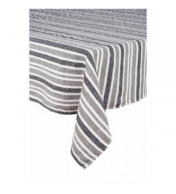 Tovaglia in lino a righe grigio kaki e blu 170x300cm harmony. nardini forniture