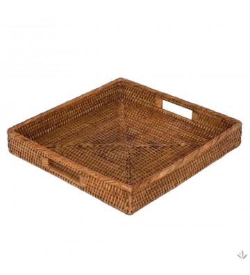 Vassoio quadrato Pacha pagan in rattan miele 44x44x7cm - NARDINI FORNITURE