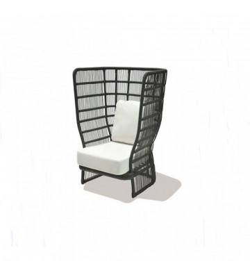Poltrona da esterno Roy Bortoli in alluminio nero con cuscini - Nardini Forniture