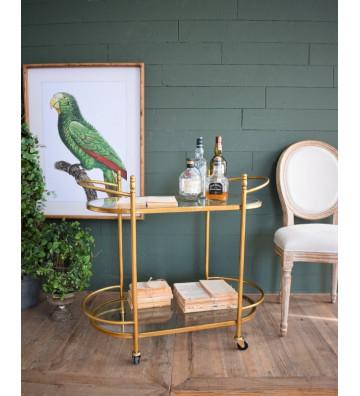 Carrello per soggiorno in oro e vetro 87x44xh.79 cm - Nardini Forniture