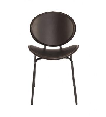 Sedia Alba home pure collection in pelle nera con telaio in metallo nero 50x54x81cm - Nardini Forniture