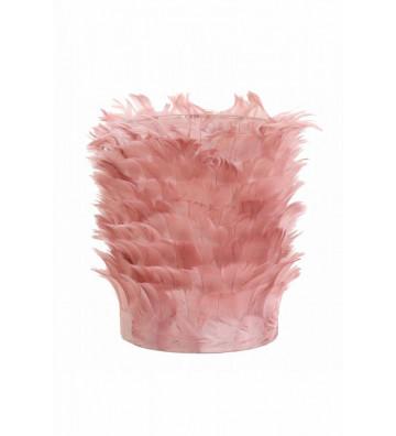 Tealight in vetro con decoro piume rosa Ø9x12cm  - Light&Living - Nardini Forniture