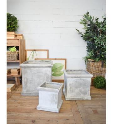 Vaso fioriera quadrata da esterno in fibra di vetro e argilla grigia / 3 dimensioni - Nardini Forniture