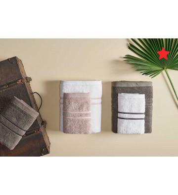 Set Asciugamani viso + ospite tinta unita e doppia bacchetta - Nardini Forniture