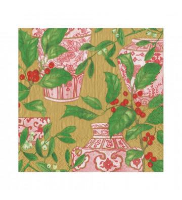 Tovaglioli in carta Agrifoglio e vasi di porcellana rosa - 20 per confezione - Caspari - Nardini Forniture
