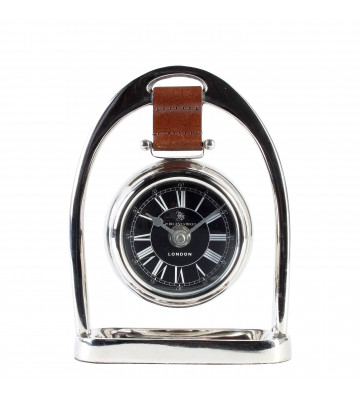 Orologio da scrivania Baxter pelle marrone H24,5 cm - Eichholtz - Nardini Forniture.jpeg