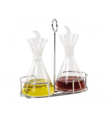 Set olio e aceto in vetro con supporto in metallo - Andrea House - Nardini Forniture