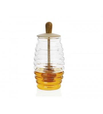 Vasetto per miele in vetro e legno Ø6x16 cm - Andrea House - Nardini Forniture