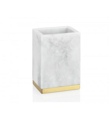 Porta Spazzolino rettangolare in marmo bianco e oro 7x5x11 cm - Andrea House - Nardini Forniture