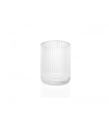 Portaspazzolino in vetro trasparente con linee in rilievo Ø7x9,5 cm - Andrea House - Nardini Forniture