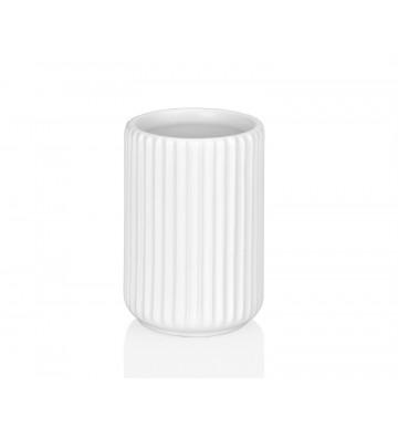 Porta spazzolino in ceramica con linee in rilievo bianche - Andrea House - Nardini Forniture
