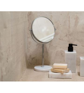Specchio ingranditore con base in marmo bianco Ø20x34 cm - Andrea House - Nardini Forniture