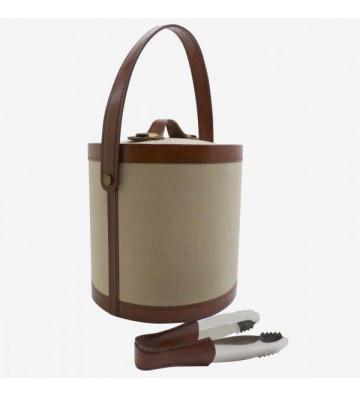 Glacette portatile in tela e pelle 20x22cm - Nardini Forniture