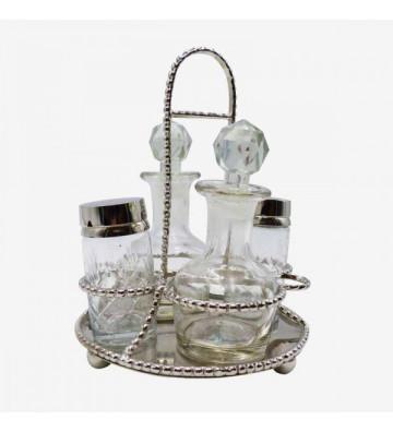 Oliera e saliera in vetro e acciaio 15x15x20cm - Nardini Forniture