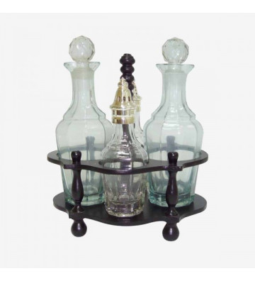 Set condimenti in acciaio, vetro e legno con 4 elementi - Nardini Forniture
