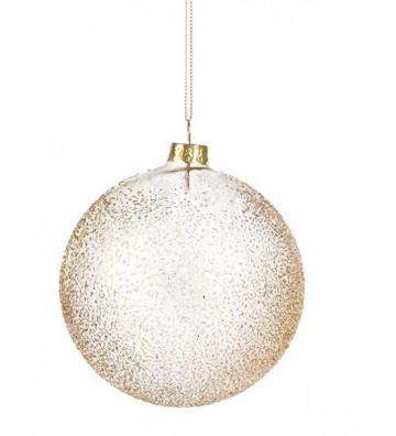 Pallina di natale tonda in vetro trasparente e praline oro 10cm - Goodwill - Nardini Forniture