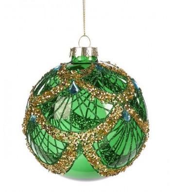 Pallina di natale tonda in vetro verde e oro 10cm - Goodwill - Nardini Forniture
