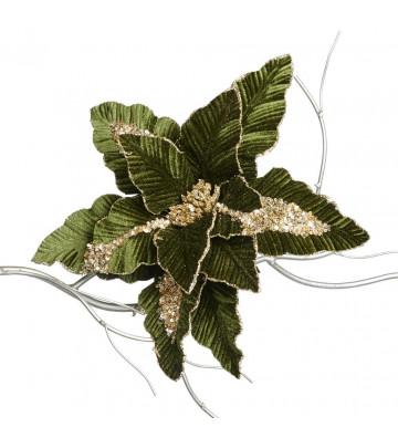 Fiore artificiale - stella di natale verde e oro decorativa 34cm - Goodwill - Nardini Forniture