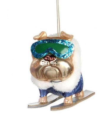 Palline di Natale bulldog francese con sci 15cm - Goodwill - Nardini Forniture