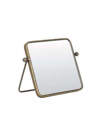 Specchio quadrato con appoggio, modello Optimal color bronzo invecchiato.Dimensioni: 25cm